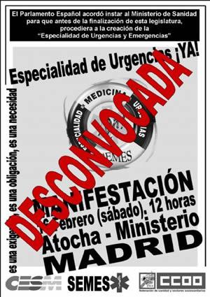 SEMES solicita a CCOO y CESM la desconvocatoria de la manifestación prevista para el sábado por la especialidad de urgencias y emergencias
