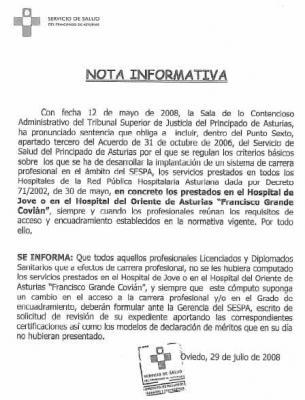 NOTA INFORMATIVA DEL SESPA PARA LOS NIVELES DE LA CARRERA PROFESIONAL